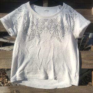 Apt 9!Short sleeve sweatshirt w/metallic detail